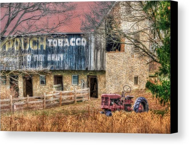 Barn Canvas Print featuring the photograph Tobacco Tractor by Lori Deiter