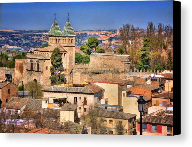 Ancient Canvas Print featuring the photograph Toledo Town View by Joan Carroll