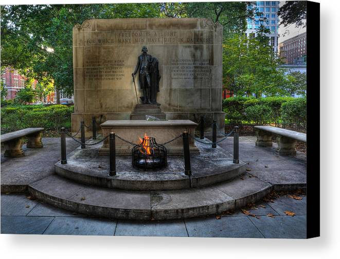 Lee Dos Santos Canvas Print featuring the photograph Tomb Of The Unknown Revolutionary War Soldier - George Washington by Lee Dos Santos