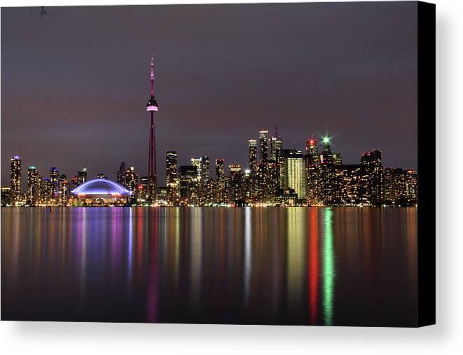 Skyline Canvas Print featuring the photograph Toronto Lights by Susan Morison