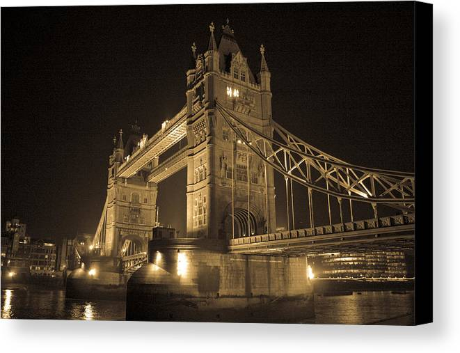 London Canvas Print featuring the photograph Tower Bridge Of London by Joshua Francia