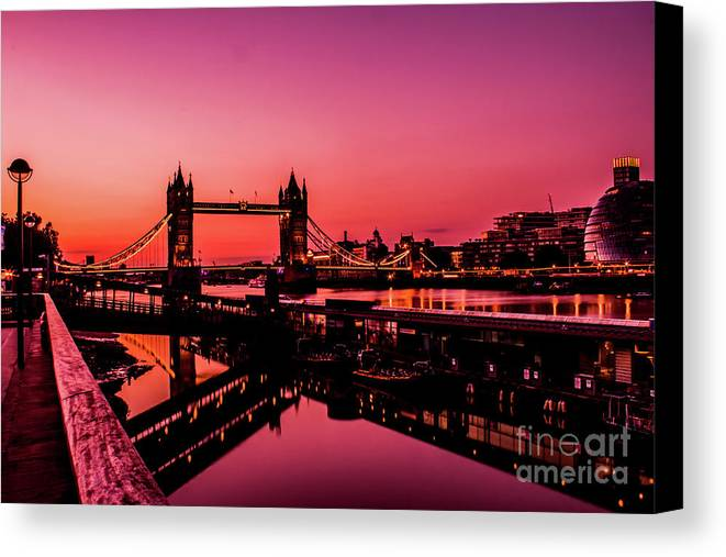 London Canvas Print featuring the photograph Tower Bridge, London. by Nigel Dudson