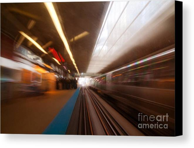 Train Canvas Print featuring the photograph Train Station In Motion by Sven Brogren