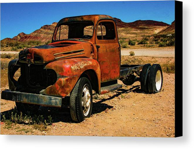 Old Truck Canvas Print featuring the photograph Tread No More by Robin Lyn