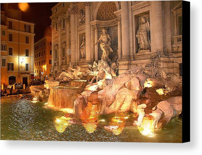 Rome Canvas Print featuring the photograph Trevi Fountain At Night by Jim Kuhlmann
