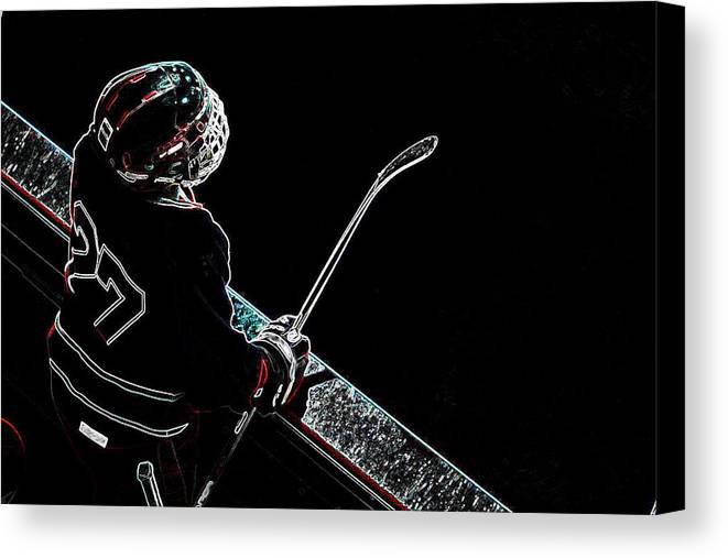 Tron Canvas Print featuring the photograph Tron Hockey - 1 by Tya Kottler