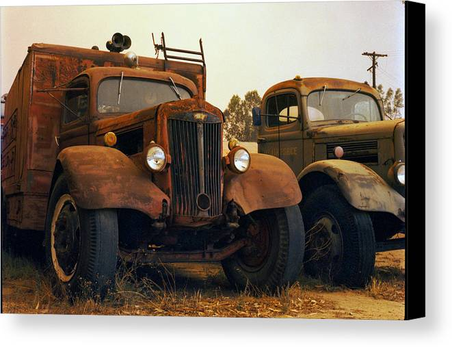 Smoke Trucks Perris Museum Military Old Texture Fire Canvas Print featuring the photograph Trucks Under Smoke by Lawrence Costales
