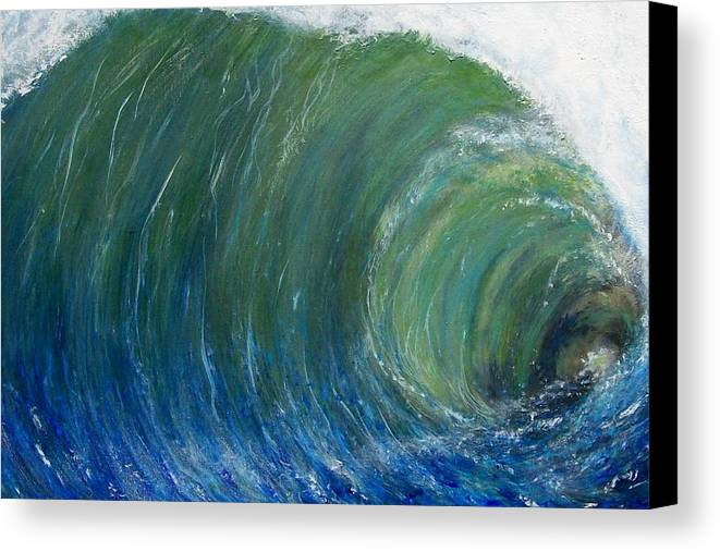 Wave Canvas Print featuring the painting Tube Of Water by Tony Rodriguez