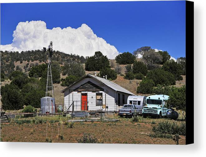 Skip Hunt Canvas Print featuring the photograph Turquoise Bus by Skip Hunt