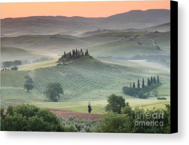 View Of The Countryside With The Belvedere In The Distance (photo) Landscape; Italian; Tuscan; Tuscany; Rural; Val D'orcia; Villa; Spring; Scenic; Atmospheric; Hilltop; Building; Architecture; Exterior; Remote; Isolated; Cloud Canvas Print featuring the photograph Tuscany by Tuscany