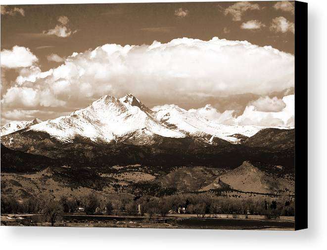 Twin Peeks Canvas Print featuring the photograph Twin Peaks In Sepia by James BO Insogna