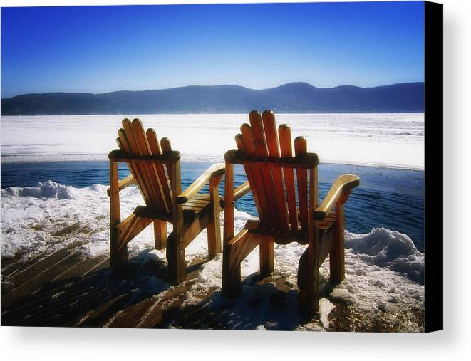 Landscape Canvas Print featuring the photograph Two Adirondack Chairs by George Oze
