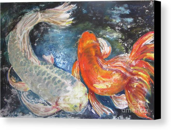 Fish Canvas Print featuring the painting Two Koi by Susan Herbst