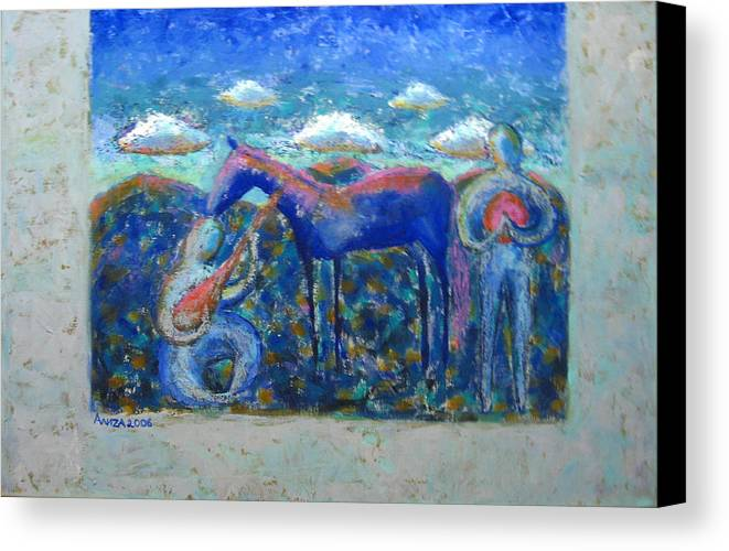 Horse Canvas Print featuring the painting Two Spirits by Aliza Souleyeva-Alexander