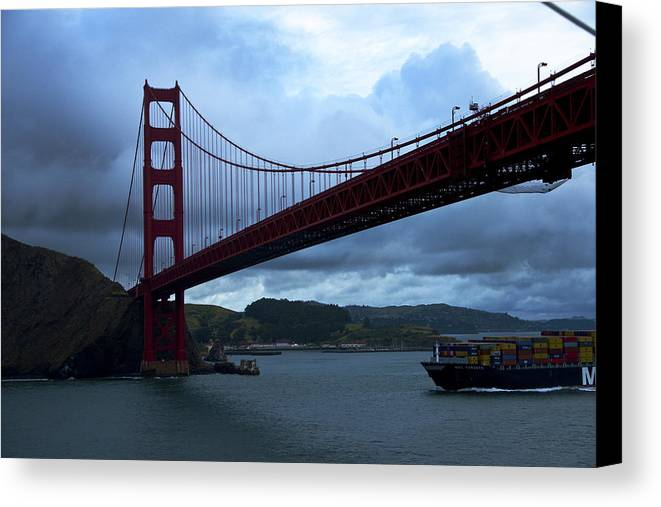 Golden Gate Bridge Canvas Print featuring the photograph Under The Golden Gate In Early Morning Light by Richard Henne