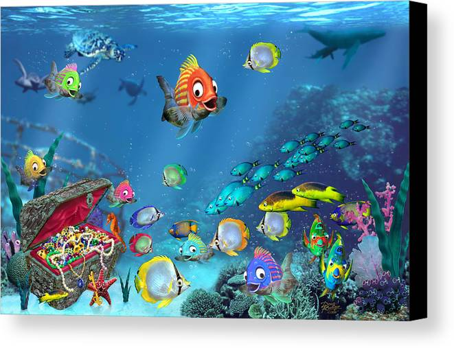 Underwater Fantasy Canvas Print featuring the digital art Underwater Fantasy by Doug Kreuger