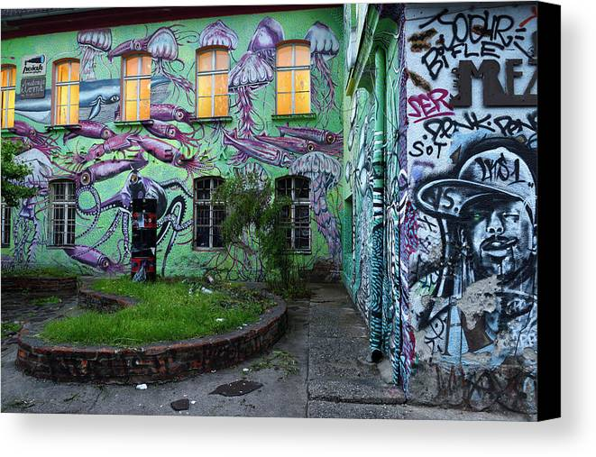 Underwater Canvas Print featuring the photograph Underwater Graffiti On Studio At Metelkova City Autonomous Cultu by Reimar Gaertner