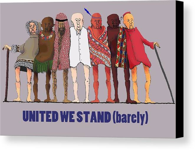 Canvas Print featuring the digital art United We Stand Transparent Background by R Allen Swezey