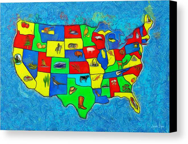 Us Canvas Print featuring the painting Us Map With Theme - Van Gogh Style - - Pa by Leonardo Digenio