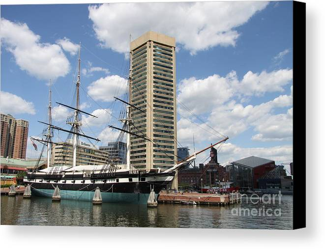 All Sail War Ship Canvas Print featuring the photograph Uss Constellation - Baltimore Inner Harbor by Christiane Schulze Art And Photography