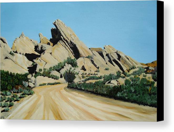 Rocks Canvas Print featuring the painting Vasquez Rocks by Stephen Ponting