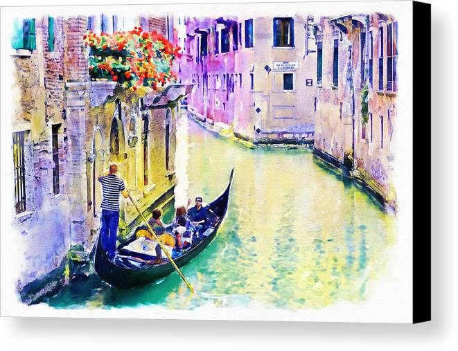 Venice Canvas Print featuring the mixed media Venice Canal by Marian Voicu