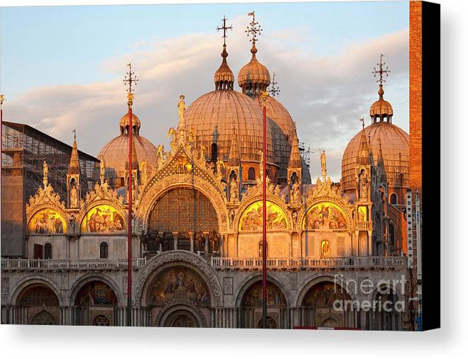 Venice Canvas Print featuring the photograph Venice Church Of St. Marks At Sunset by Heiko Koehrer-Wagner