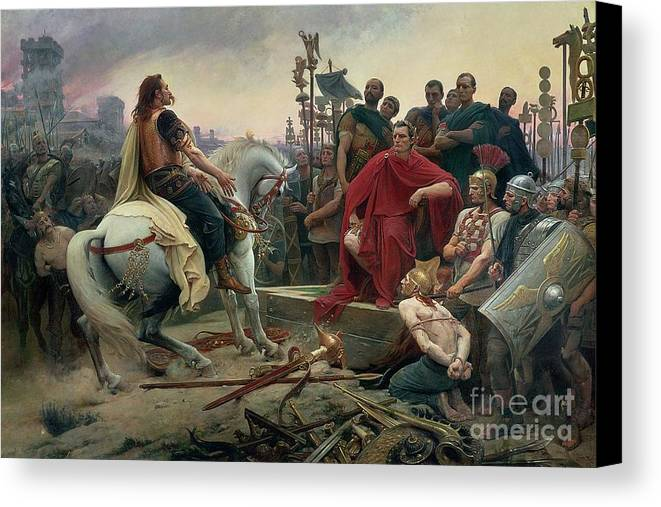 Xrz72286 Canvas Print featuring the painting Vercingetorix Throws Down His Arms At The Feet Of Julius Caesar by Lionel Noel Royer