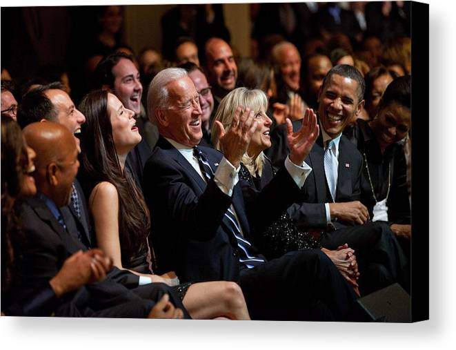 History Canvas Print featuring the photograph Vice President Joe Biden Flanked by Everett