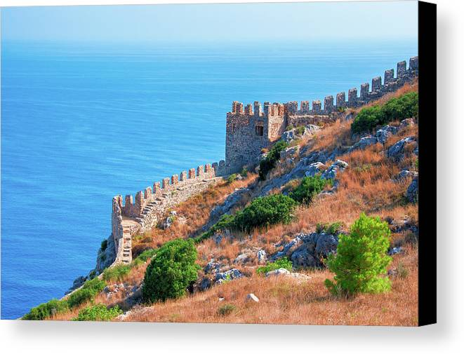 Turkish Riviera Canvas Print featuring the photograph View Far Out To Sea From Alanya Castle by Sun Travels