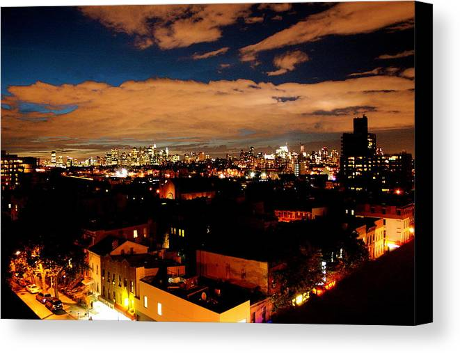 Brooklyn And City Canvas Print featuring the photograph View From Brooklyn by Brian Vitagliano