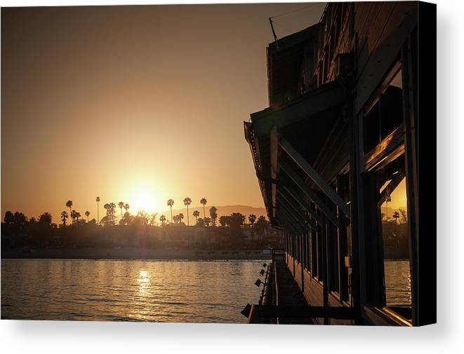 Sunset Canvas Print featuring the photograph View Of Setting Sun Over Santa Barbara, Ca by Bradley Hebdon