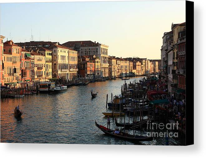 Venice Canvas Print featuring the photograph View Of The Grand Canal In Venice From The Rialto Bridge by Michael Henderson