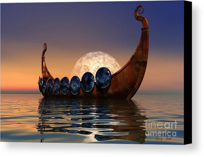 Viking Canvas Print featuring the painting Viking Boat by Corey Ford