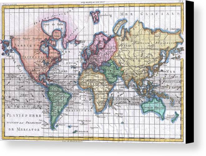 Vintage map of the world 1780 canvas print canvas art by world canvas print featuring the drawing vintage map of the world 1780 by cartographyassociates gumiabroncs Images