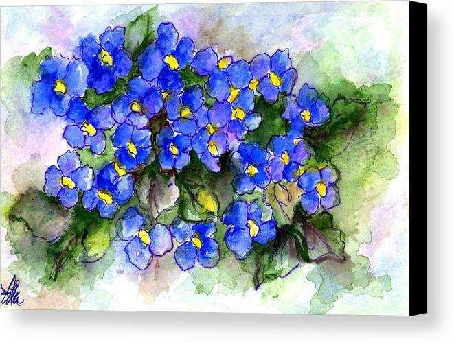 Watercolor Canvas Print featuring the painting Violets Of Blue by Lila Van Pelt