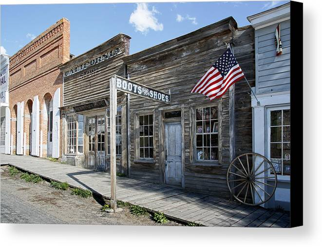 Montana Canvas Print featuring the digital art Virginia City Ghost Town - Montana by Daniel Hagerman