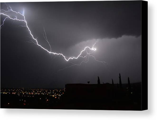 Lightning Canvas Print featuring the photograph Vital Strike by Mark Ziegler
