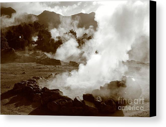 Azores Canvas Print featuring the photograph Volcanic Steam by Gaspar Avila