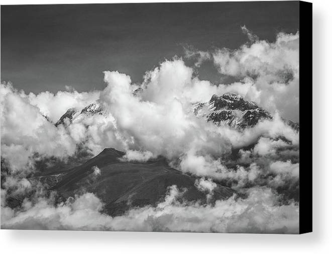 Clouds Canvas Print featuring the photograph Volcano Chachani In Arequipa Peru Covered By Clouds by Jiri Vondrous