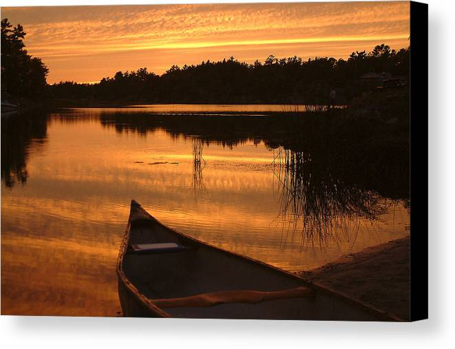 Canoe Canvas Print featuring the photograph Waiting For Me by Linda McRae