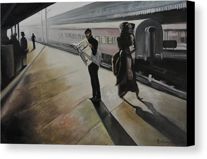 Paintings Canvas Print featuring the painting Waiting For The Train by Mrutyunjaya Dash