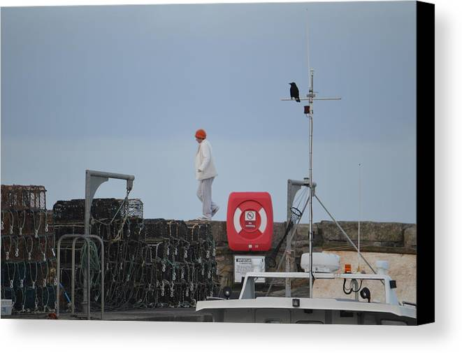 Walk Canvas Print featuring the photograph Walking The Pier Wall by Adrian Wale