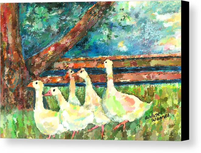 Ducks Canvas Print featuring the mixed media Walking Through The Grass by Arline Wagner