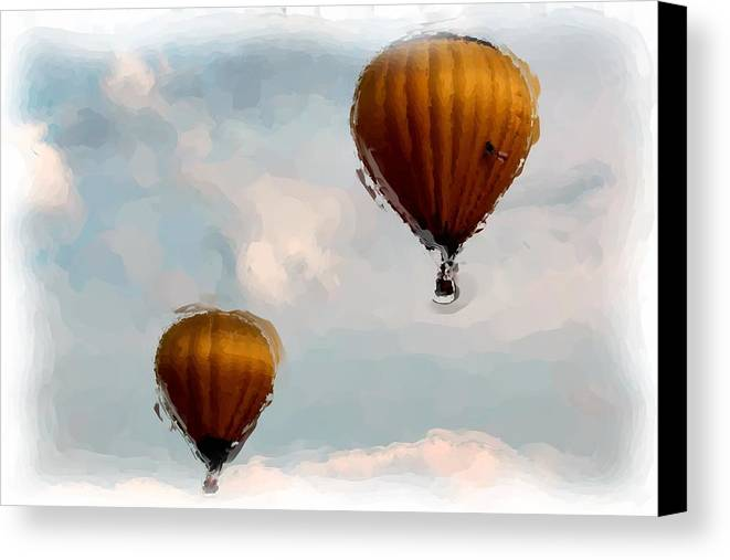 Hot Air Balloons Canvas Print featuring the digital art Water Color Balloons by Gary Wilson