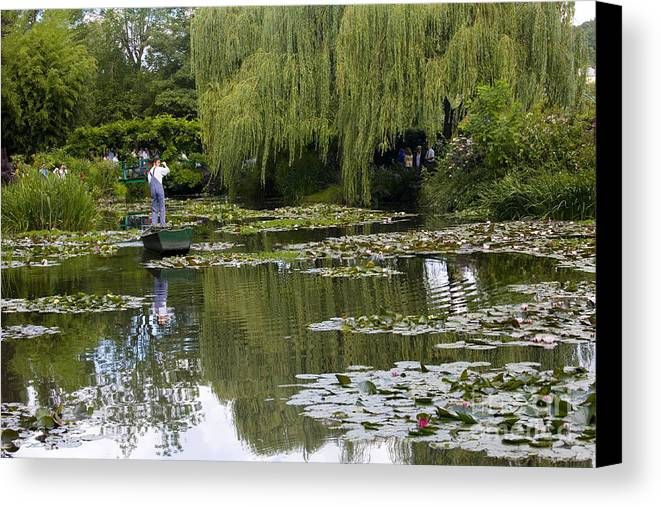 Monet Gardens Giverny France Water Lily Punt Boat Water Willows Canvas Print featuring the photograph Water Lily Garden Of Monet In Giverny by Sheila Smart Fine Art Photography