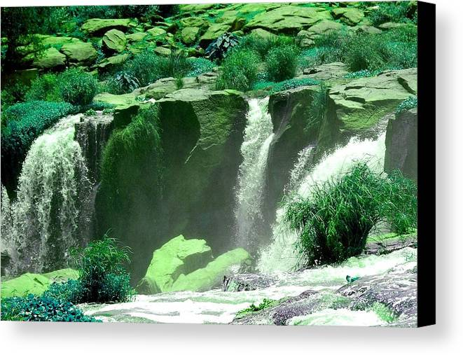 Water Canvas Print featuring the photograph Waterfall by Apurva Madia