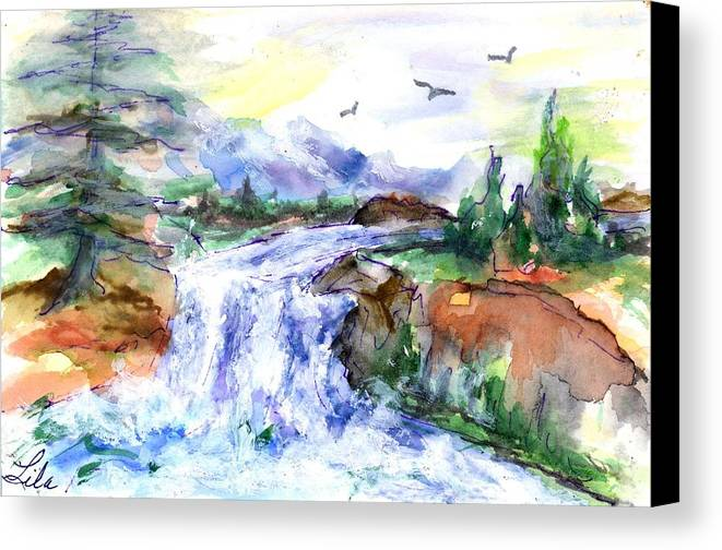 Watercolor Canvas Print featuring the painting Waterfall by Lila Van Pelt