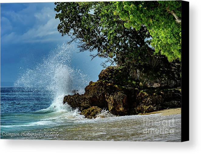 Wave Canvas Print featuring the photograph Wave Crashing Punta Cana by Ron Simpson
