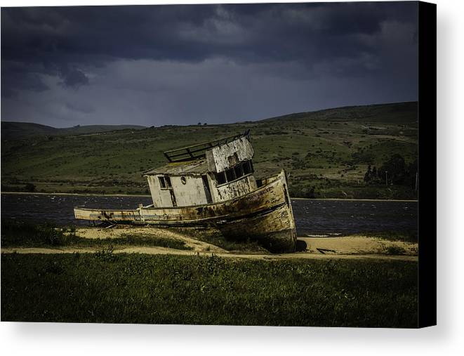 Old Canvas Print featuring the photograph Weathered Fishing Boat by Garry Gay